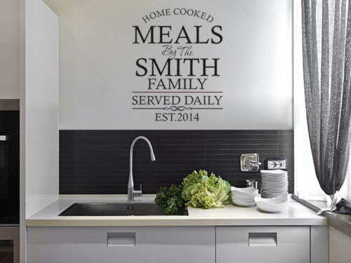 Modern Transfer Kitchen Wall Quote Wall Sticker PERSONALISED Family Decal