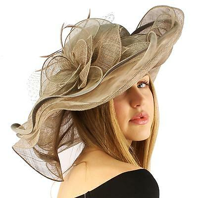 Summer Kentucky Derby Wide Brim Layers Floppy Feathers Net Floral Hat Mushroom