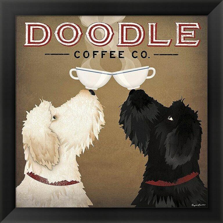 Doodle Coffee , by Ryan Fowler, Framed Art, 16x16