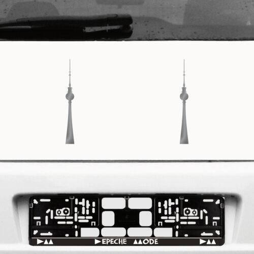 2 Stickers 20cm Silver Tattoo Fernsehturm Berlin Alexanderplatz Car Deco Foil