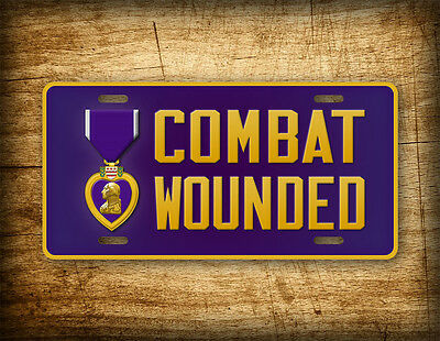 PURPLE HEART  MEDAL COMBAT WOUNDED  CAR LICENSE PLATE