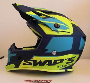 Casque-motocross-SWAP-039-S-BLUR-S818-Bleu-Jaune-Fluo-Mat