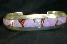 HVY ZUNI STERLING SILVER SUGILITE CORAL INLAY BRACELET NATIVE AMERICAN DEAD PAWN
