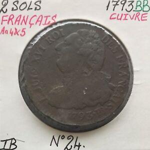2-SOLS-FRANCAIS-LOUIS-XVI-1793BB-Piece-de-Monnaie-en-Cuivre-TB