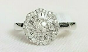 98330d463ddb1 Details about *STUNNING* .925 0.50CT DIAMOND BALLERINA CLUSTER RING