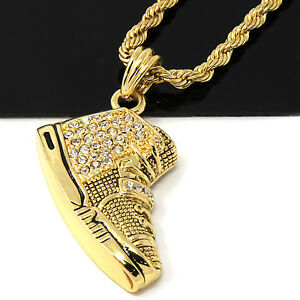 Mens gold iced yeezy 350 sneakers pendant 24 rope chain hip hop image is loading mens gold iced yeezy 350 sneakers pendant 24 aloadofball Choice Image