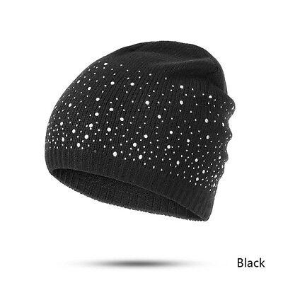Winter Warm Cotton Women Knitted Cap Skullies Beanies Diamonds Glistening Hat