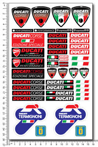 DUCATI-Termignoni-decals-set-kit-6x10-in-sheet-48-stickers-Laminated-exhaust