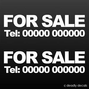 for sale custom phone number sticker sign decal for car van window advert x 2 ebay. Black Bedroom Furniture Sets. Home Design Ideas