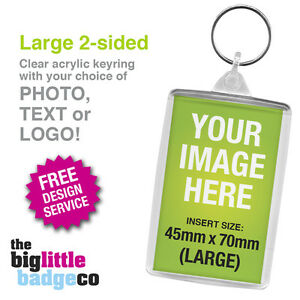 PERSONALISED-CUSTOM-ACRYLIC-KEYRING-LARGE-70mm-x-45mm-Photo-Logo-2-Sided