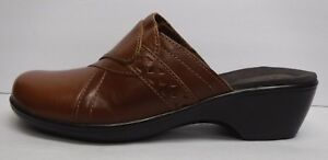 Clarks-Size-10-Brown-Leather-Glogs-Sandals-New-Womens-Shoes