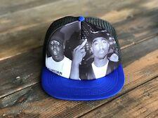 Trucker Hat SnapBack Adjustable Strap Tupac 2Pac Notorious BIG Biggie BLUE/BLACK