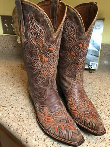 LUCCHESE-WOMENS-BROWN-Chocolate-Brown-Inlay-Tangerine-LEATHER-BOOTS-COWBOY-Sz-8