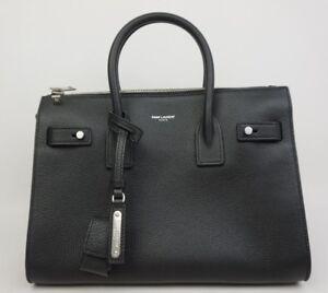 Yves Saint Laurent YSL Baby Sac De Jour Bag Black Grained Leather ... cd50a90c73553