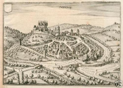 Ortenberg. Gesamtansicht.Kupferstich Merian von 1646