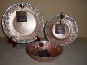 ... 12pc-ARTISTIC-ACCENTS-Gold-Silver-Glitter-Trim-Glass- & 12pc ARTISTIC ACCENTS Gold Silver Glitter Trim Glass Dinnerware ...
