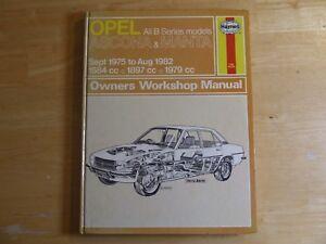 opel ascona manta 1975 1982 haynes service workshop repair rh ebay co uk opel ascona service and repair manual Opel Rekord