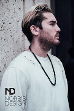 Men's Necklace Malachite/Onyx Norbis Design Genuine Natural Round Beads 30inch