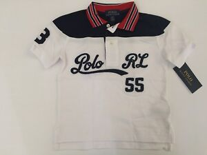 89877d0d Polo Ralph Lauren Boys Cotton Mesh Graphic Polo Shirt White Size 3 ...