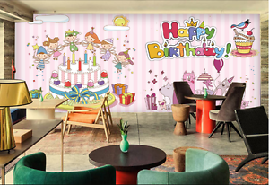 3D Happy Birthday Cake Cartoon Wall Paper Wall Print Decal Wall AJ WALLPAPER CA