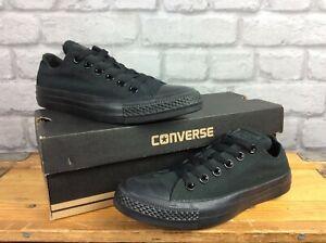 Converse-Donna-Chuck-Taylor-All-Star-Ox-Mono-Black-Canvas-Scarpe-da-ginnastica-T