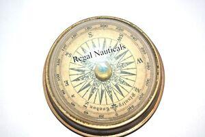 Antique Maritime Brass Lens Compass Vintage Nautical Table Decorative Compass