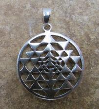 Sri Yantra Sterling Silver Pendant Yoga Chakra Jewelry for Necklaces Bracelets