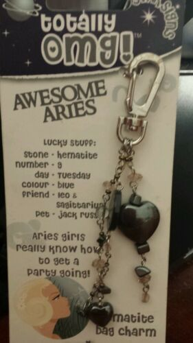 TOTALLY OMG Aries Bag Tag HEMATITE GEMSTONES