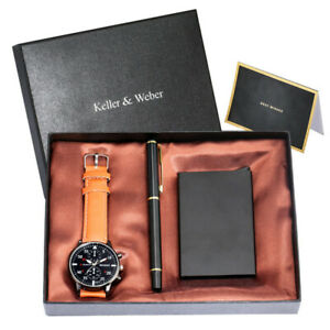 Luxury Men Analog Quartz Watch Business Gift Set with Signing Pen Card Case Box