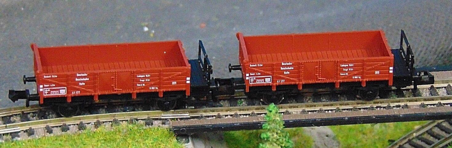 2 x FLEISCHMANN 8203     goods DRG open goods  wagon     BOXED     N Gauges b88929