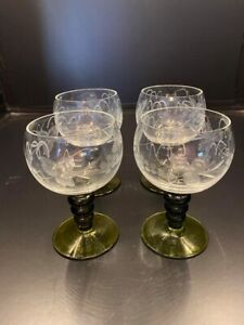Vintage-Etched-Clear-Port-or-Sherry-Glasses-with-Green-Stems-Set-of-4