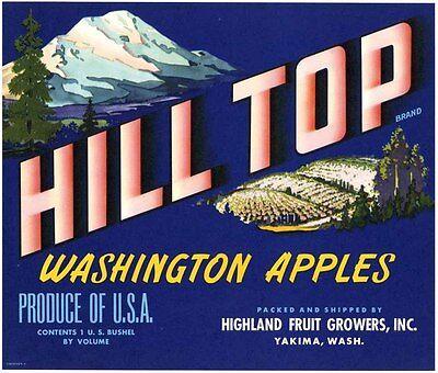 HILL TOP~ORIGINAL 1940s AUTHENTIC YAKIMA WASHINGTON OLD APPLE FRUIT CRATE LABEL