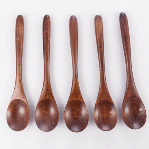 Kitchen Wooden Spoon Bamboo Cooking Utensil Tool Soup Teaspoon Catering 1//5Pcs