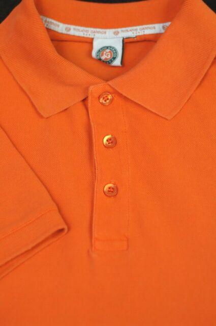 Roland Garros Men's Orange French Open Cotton Casual Polo Shirt L Large