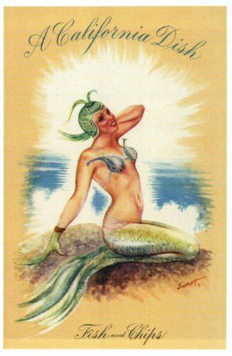 Fish and Chips A Pretty Mermaid A California Dish CA Ocean Modern Postcard