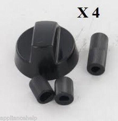 four et plaque de cuisson noir boutons de contrôle et adaptateurs-fits all 4 x Baumatic /& ELBA cuisinière