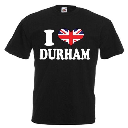 3XL I love coeur Durham Adultes Homme T shirt 12 Couleurs Taille S