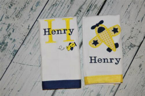 Airplane Personalized Burp Cloth set of 2  Custom Baby Gift yellow /& navy
