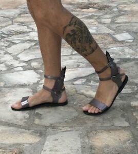 f75786efdc0 Image is loading mens-genuine-leather-gladiator-sandals-mercury-wings-Greek-