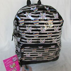 Betsey-Johnson-Clear-Backpack-Striped-Unicorn-Kitty-Large-Full-size-Book-Bag-NWT