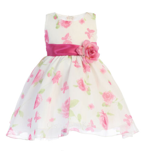New Flower Girls  Floral Print Dress Baby Toddler Kids Easter Wedding Party 737