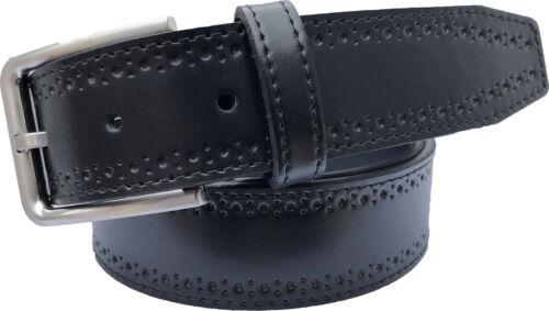BLACK 100/% ITALIAN LEATHER BELT BROGUE DESIGN S M L XL XXL 35MM