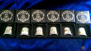 Set-of-6-Different-Bayeux-Tapestry-Thimbles-by-Sutherland-Bone-China-New-amp-Boxed