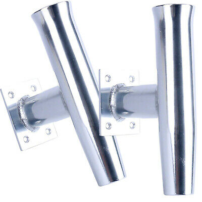 """2-Pack Stainless Steel Tournament Style Rod Holder w// 3/"""" x 4/"""" Base Wall Mounted"""