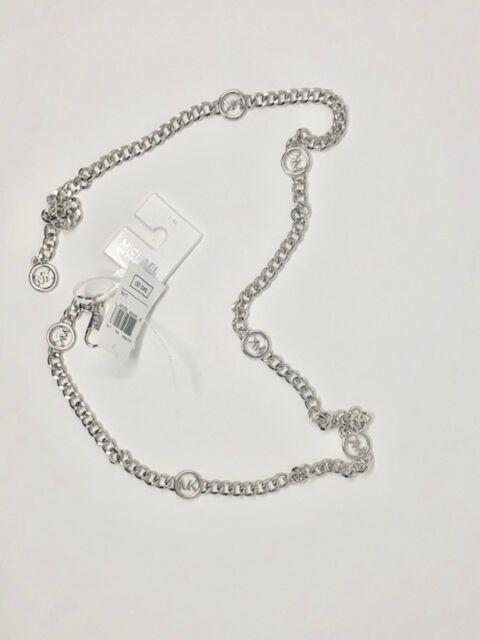 NWT Michael Kors Women Size Large-XL Silver Logo Chain Belt MK Metal
