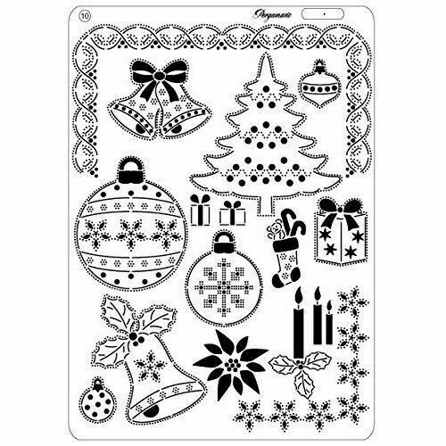 PERGAMANO Multi Grid 38 Perforating Parchment 31447 BAUBLES Christmas Tree