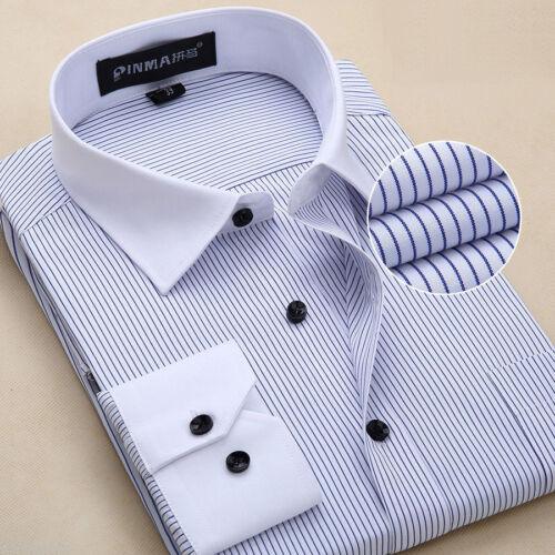 Z6309 Striped Shirt New Men/'s  Formal Slim Casual Long Sleeve Dress Shirts