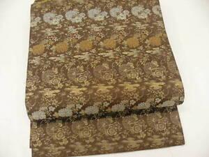Antique-Dark-Brown-Silk-034-Maru-obi-034-w-Kiku-Flowers-T476