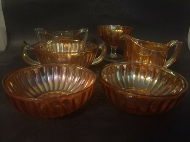 Vintage Marigold Iridescent Carnival Glass Ribbed Lot Of 6 Pieces