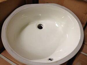 Bisque Under Mount Bathroom Vanity Sink 17 X 14 Bowl Ebay